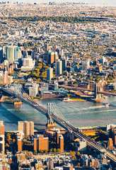 Fototapeta Nowy York Aerial view of the Lower East Side of Manhattan the Brooklyn and Manhattan bridges
