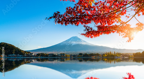 Fototapety, obrazy: Colorful autumn season and Mountain Fuji with red leaves at lake Kawaguchiko in Japan