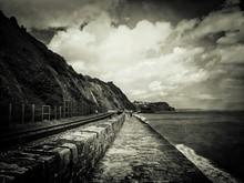 Railroad Track Along Coastline
