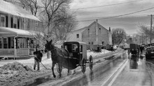Horse Cart On Street During Winter At Dusk