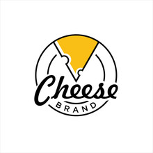 Cheese Logo. Round Linear Logo Of Cheese Store, Luxury Logo Design Template Vector Illustration