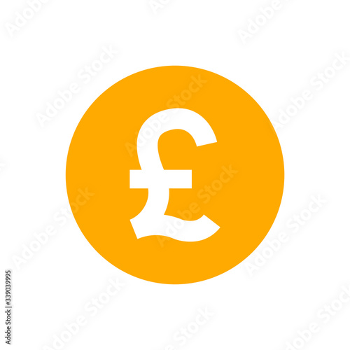 Obraz pound currency coin orange for icon isolated on white, pound money for app symbol, simple flat pound money, currency digital pound coin for financial concept - fototapety do salonu