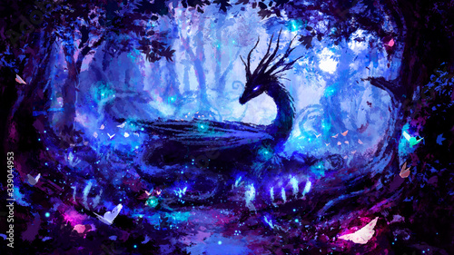 Foto A beautiful black dragon in a night forest, peacefully lying in a clearing, surrounded by many trees, fireflies, and luminous plants, painted with imitation oil