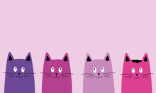 Pink Four Cats. Children's Bac...