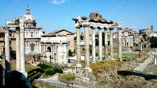 Fotografie, Obraz Historic Roman Forum Against Sky