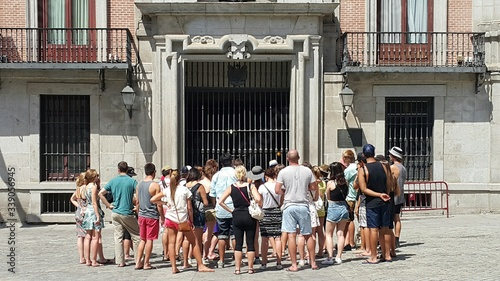 Men And Women At Plaza De La Villa Square