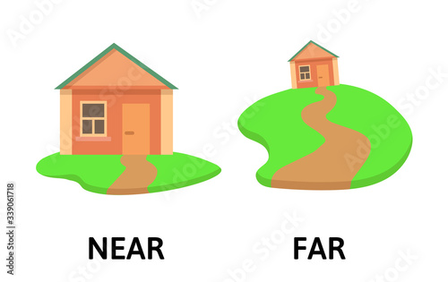 Words far and near opposites flashcard with cartoon house Wallpaper Mural