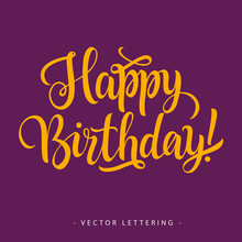 Yellow Happy Birthday Inscription With Exclamation Mark Isolated On Purple Background