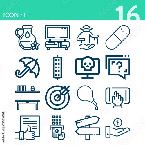 Simple set of 16 icons related to alleviate Canvas Print