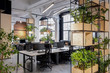 modern loft office interior with furniture