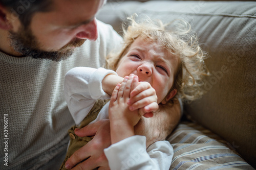 Fototapeta Father with small sick crying toddler daughter indoors at home. obraz