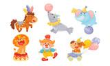Fototapeta Fototapety na ścianę do pokoju dziecięcego - Circus Animals with Elephant Balancing on the Ball and Clown Dancing Vector Set