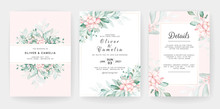 Wedding Invitation Card Template Set With Soft Peach Watercolor Floral Decorations. Flowers Arrangements For Save The Date, Greeting, Details, Cover. Botanic Illustration Vector