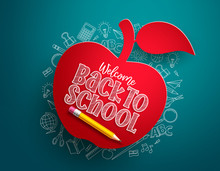 Back To School Apple Vector Banner. Back To School Text In Red Paper Cut Apple With Hand Drawn School Items And Elements In Blue Background. Vector Illustration.