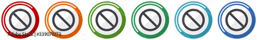 Photo Access denied icon set, flat design vector illustration in 6 colors options for