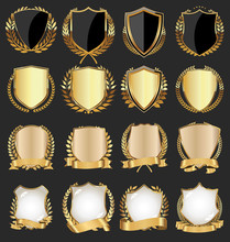 Golden Shield With Gold Laurels