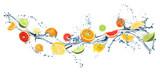 Different fresh citrus fruits and splashing water on white background. Banner design