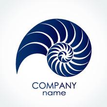 Blue Color Snail Shell Spiral Shape Logo