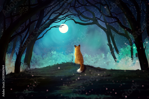 Beautiful mystical blue forest with enchanted trees and red fox on a hill Canvas Print
