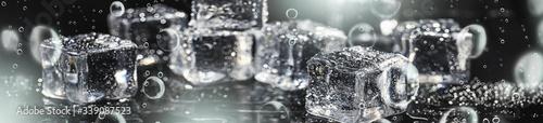 Photo Kostki lodu abstrakcja woda