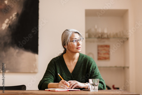Amazing pretty mature beautiful grey-haired woman Poster Mural XXL