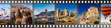 Film Strip With Turkish Cappadocia Famous Landmark Photo. Flying Air Ballons, Stone Pillars, Fairy Chimneys, Uchisar Castle, Pillars Pashabag.