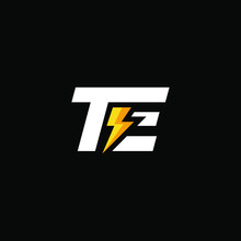 Initial Letter TE With Lightning