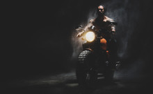 Moto Rider On The Dark Empty R...