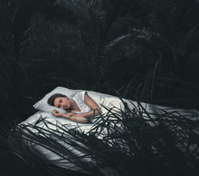 Sleeping Woman In Deep  Forest...