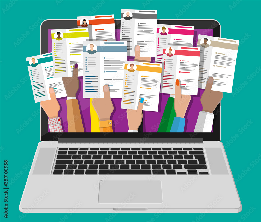 Fototapeta Job resume document out from laptop. Hands holding cv resume papers. Human resources management concept, searching professional staff, work. Found right resume. Vector illustration in flat style