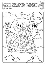 Coloring Book Pirate Boat Theme 2