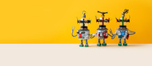 Three Funny Alien Ufo Robots, ...