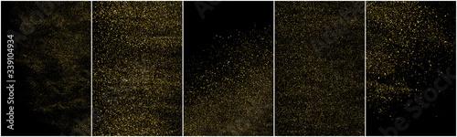 Obraz Set of Gold Glitter Texture Isolated on Black Background. Golden stardust. Amber Particles Color. Sparkles Rain. Vector Illustration, Eps 10. - fototapety do salonu