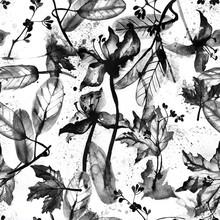 Black White Floral Seamless Pattern. Ink Hand Drawn Illustration