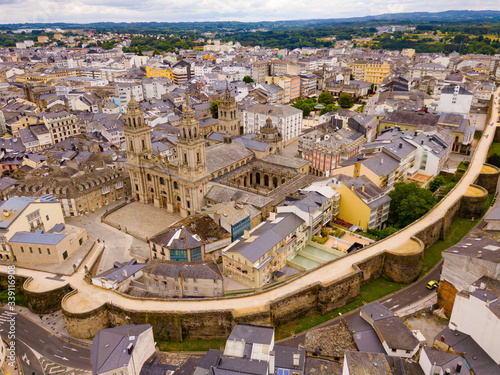 Aerial panoramic view of Lugo galician city with buildings