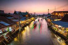Amphawa Floating Market At Dusk, Bangkok, Thailand