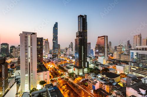 Bangkok city skyline at dusk, Thailand - 339119337