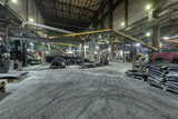Fototapeta Przestrzenne - Interior of a factory for manufacturing rubber conveyor belts.