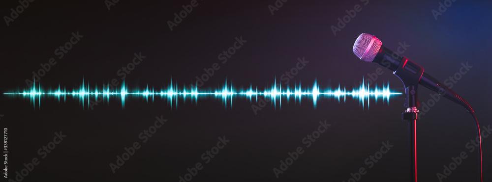 Fototapeta Microphone and radio wave on dark background. Banner design