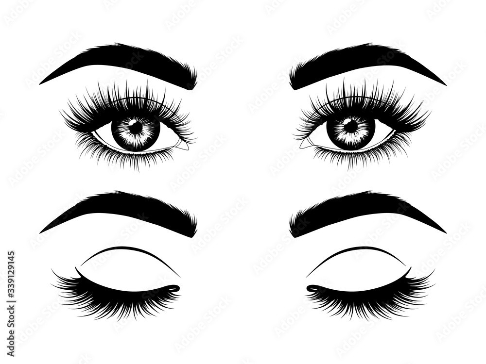Fototapeta Fashion illustration. Black and white hand-drawn image of beautiful open and closed eyes with eyebrows and long eyelashes. Vector EPS 10.