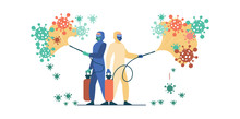 Sanitary Workers In Protective Suits Spreading Chemicals On Virus And Disinfecting Surface. Vector Illustration For Coronavirus Epidemic, Bio Hazard, Disinfection Concept