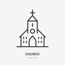Church Line Icon, Vector Picto...