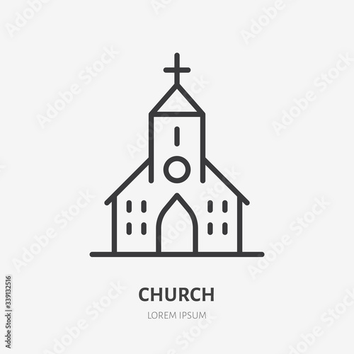 Fotografiet Church line icon, vector pictogram of catholic chapel building