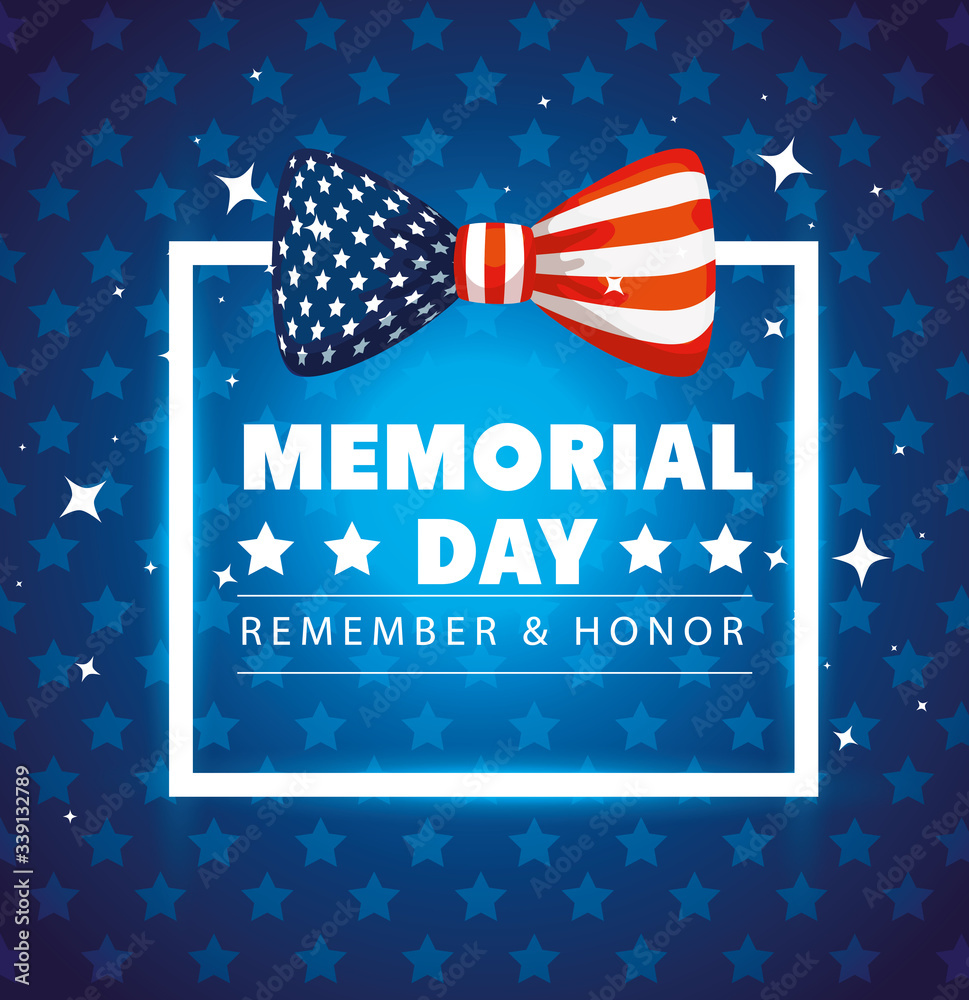 Fototapeta memorial day with square frame and bow ribbon decoration vector illustration design