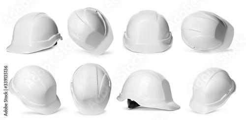 Set with construction safety hardhat on white background Tapéta, Fotótapéta