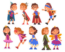 Happy Girls And Boys Dressed As Fairytale Heroes Collection, Cute Kids Playing Dress Up Game Cartoon Vector Illustration