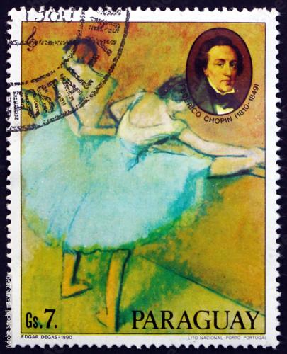 Obrazy Edgar Degas  postage-stamp-paraguay-1980-painting-of-ballerina-by-edgar-degas