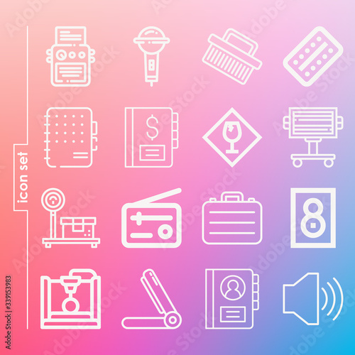 Simple set of 16 icons related to ambassador Canvas Print