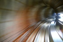 Blurred Motion Of Train At Subway Tunnel