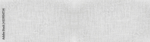 Fototapeta Gray white bright natural cotton linen textile texture background banner panoram